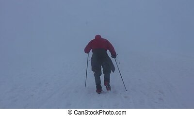 Single man climbs Mount Elbrus - 2014 Mount Elbrus, Russia:...