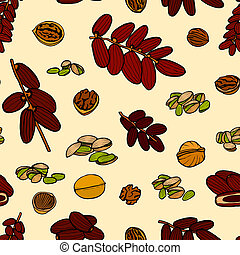 seamless pattern hand sketched nuts - art seamless pattern...