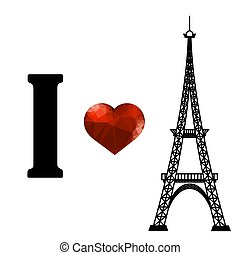 Eiffel Tower Silhouette and Red Polygonal Heart