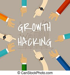 growth hacking business method concept of using their knowledge of product and distribution, find ingenious, technology-based solution