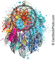 Dreamcatcher against a background of colorful splash