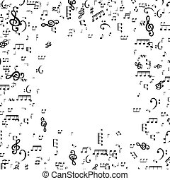 Set of musical notes, Treble clef. Vector Illustration.