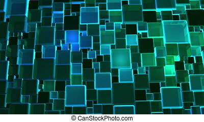 Neon Green Lights Cubes Background - Abstract neon green...