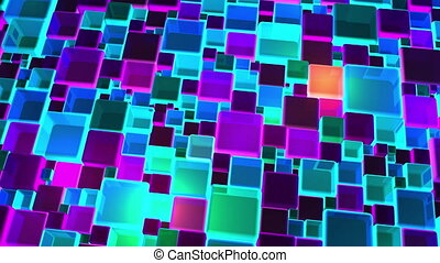Neon Colorful Lights Cubes Background In 4k - Abstract neon...