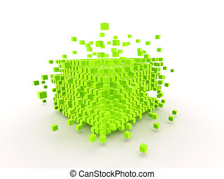 abstract cube - 3d rendered illustration of many green cubes