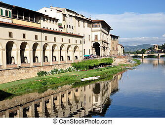 Arno River reflections in Florence, Italy