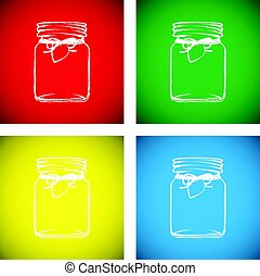 colourful jam jar set