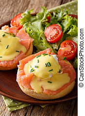 Delicious breakfast: eggs Benedict with salmon and...