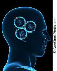 intelligence - 3d rendered illustration of gears in a...