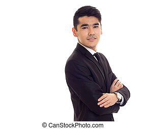 Young man in black tuxedo