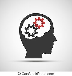 Vector icon of human head with mechanical gears