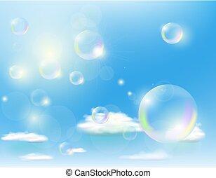 bubbles against the blue sky