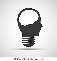 Vector icons bulb of a human head