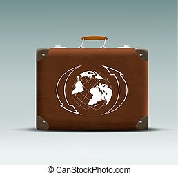 leather suitcase with a tour sticker