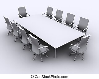 conference table - 3d rendered illustration white chairs...