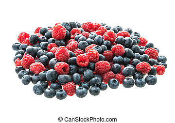 Blueberry and Rasberry fruit - Group of Blueberry and...