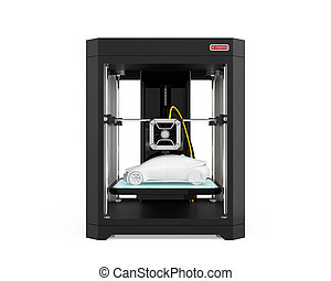 Front view of 3D printer with car model isolated on white...