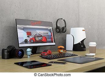 Product designer desktop with 3D scanner, digital graphic...