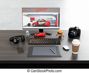 Graphic designer desktop with digital graphic tablet, DSLR...