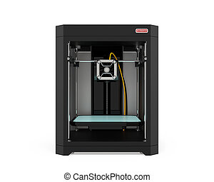 Front view of 3D printer isolated on white background. 3D...