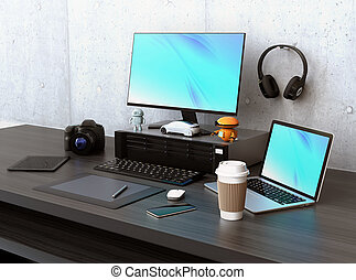 Graphic designer desktop with DSLR camera,laptop PC and...