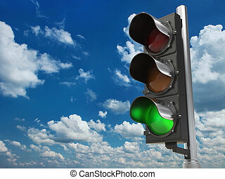 Traffic light with green color on blue sky background. 3d...