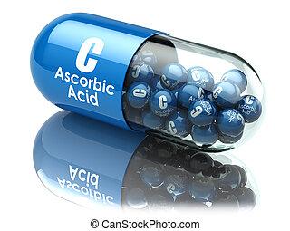 Vitamin C capsule or pill. Ascorbic acid. Dietary...