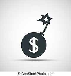 Vector icon round bomb with a picture of a dollar sign