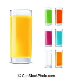 set of glasses with juice isolated on white background