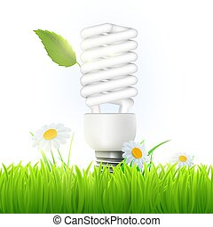 Vector energy saving lamp with green leaf and flowers