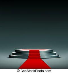 red carpet on pedestal
