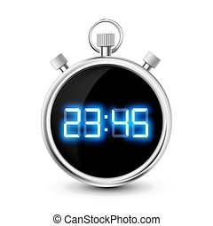 digital stopwatch with blue numerals isolated on white...