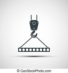 Vector icons of industrial hook with reinforced concrete...