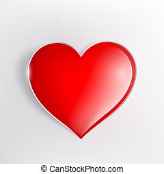 red glowing heart on a light background