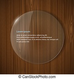round glass frame on a wooden background