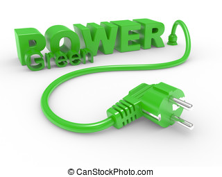 Green electric plug and inscription POWER on a white...