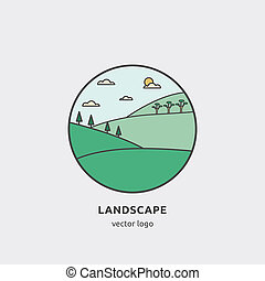 Vector round design concept with village view.