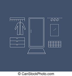 Hallway line vector illustration. Interior design in high...