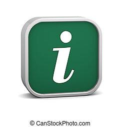 informazioni, verde, segno