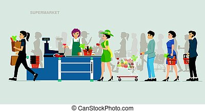 Supermarket Payout Points - The cashier accepts payments...