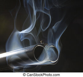smoking guns - both barrels of a shotgun that are pouring...