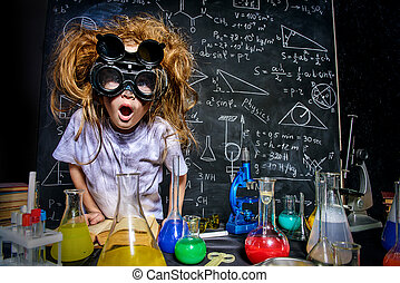 crazy little scientist - Funny little girl doing experiments...