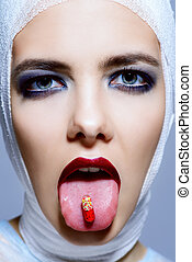 pill capsule in a mouth