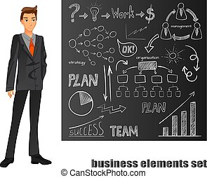 Businessman in a suit. Orange tie. Brown chalkboard with hand drawn elements. VECTOR illustration