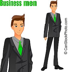 Businessman in a suit. Bright green tie. VECTOR illustration