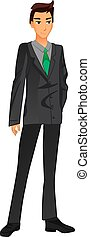 Businessman in a suit. Green tie. VECTOR illustration