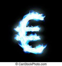 Euro sign burning blue flame