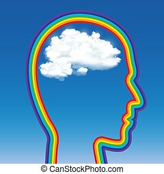 head of a man in the shape of a rainbow with a cloud inside