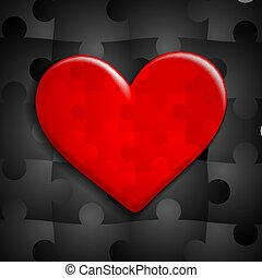 red heart of puzzle on a background of black puzzles