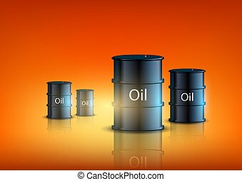 barrels of fuel on an orange background